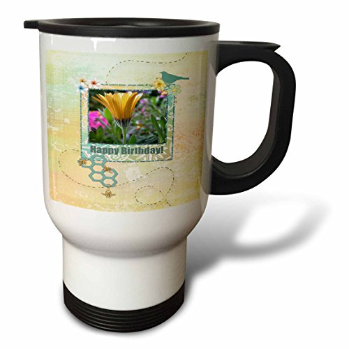 Beverly Turner Birthday Design and Photography - Yellow Gerber Daisy in Frame with Flowers, Birds, Gold Bees. Happy Birthday - 14oz Stainless Steel Travel Mug (tm_180951_1)