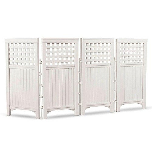 BS Outdoor Privacy Screen Concealer 4 Panels Patio Garden Screen Panel All-weather Space Divider Privacy Fence Decorative Outdoor Screening Galvanized Steel Posts & eBook by BADA shop