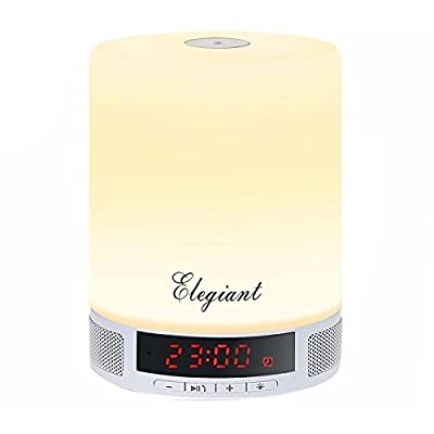 LED Bluetooth Speaker,ELEGIANT Portable Wireless Speaker,LED Bedside Table Lamp,Dimmable Night Light with Touch Control,Alarm Clock, Hands-Free Speakerphone with Mic,TF Card Function