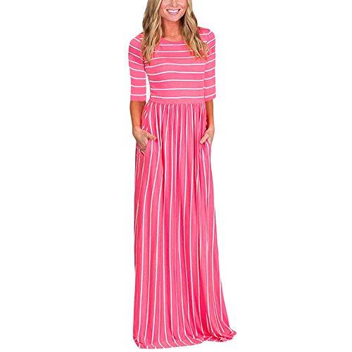 ♥ HebeTop ♥ Women Boho Casual Party Stripe Dress Empire Waist 3/4 Sleeve Elastic Cozy Long Maxi Dress with Pockets Pink