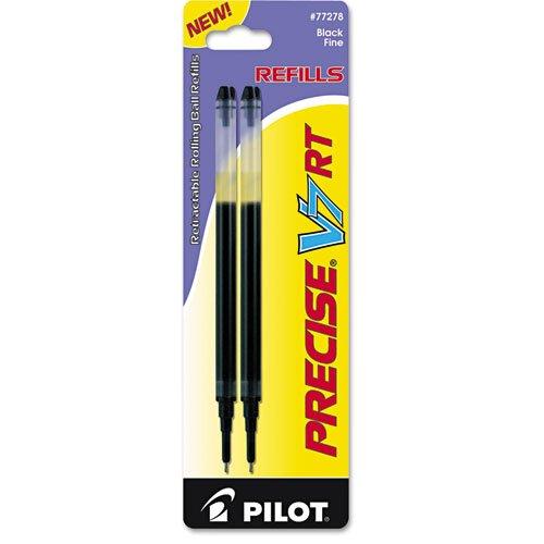 Pilot 77278 Refill for Precise V7 RT Rolling Ball, Fine Black Ink (Pack of 2) (V7 Needle Precise)