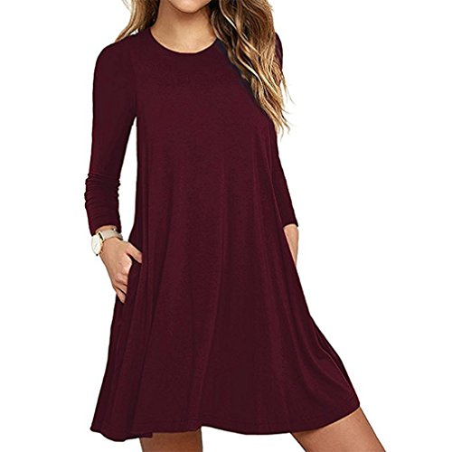 Mljsh Women's Wine Long Sleeve Tunic Pocket Casual Loose T-Shirt Flowy Dress Size M