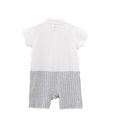 Fairy Baby Baby Boy Formal Outfit Short Sleeve Tuxedo Plaid Gentleman Suit,0-3M,Grey Stripe by Fairy Baby (Image #2)