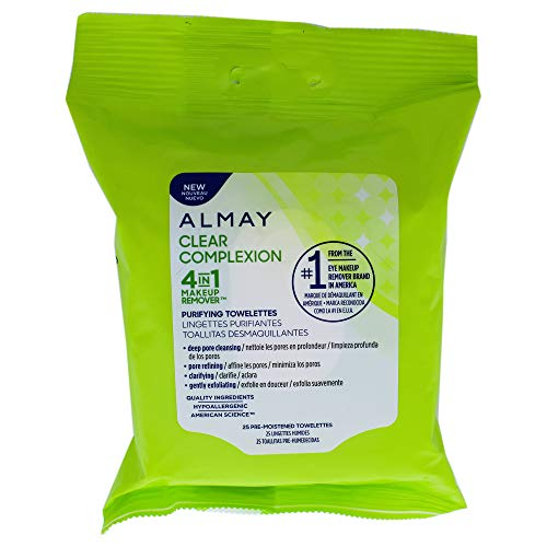 Almay Clear Complexion 4-in-1 Makeup Remover Wipes, Purifying Towelettes, Hypoallergenic, Dermatologist-tested, 25 Count