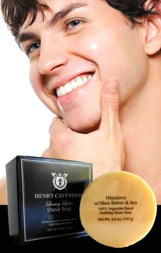 Henry Cavendish Himalaya Shaving Soap with Shea Butter & Coconut Oil. Long Lasting 3.8 oz Puck Refill. Mens Shave Soap…