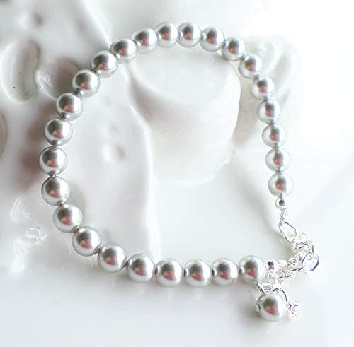 Light Gray Silver Swarovski Pearl Single Strand ()
