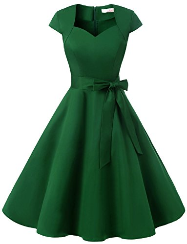 [Dressystar DS1955 Women Vintage 1950s Swing Cap Sleeevs Prom Dresses V Neck L Army Green] (Military Costumes For Women)