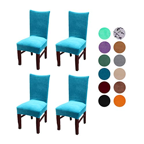 Velvet Spandex Stretch Dining Room Chair Cover, Removable Chair Slipcovers Set of 4pcs(peacock blue)