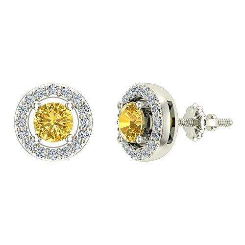 14K White Gold Studs Citrine Diamond Halo Birthstone Earrings November Distinct 0.70 carat total weight Screw Back Posts Certified