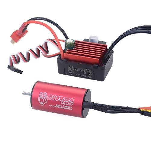 Ktyssp Waterproof 2040 3200KV Brushless Motor + 35A ESC 2S Set for 1/18 1/16 RC Car