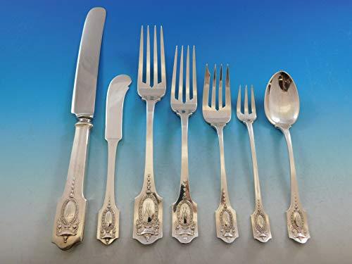 Adam by Shreve Sterling Silver Flatware Set for 12 Service 93 pcs Dinner Mono - Knife Sugar Spoon Master Butter