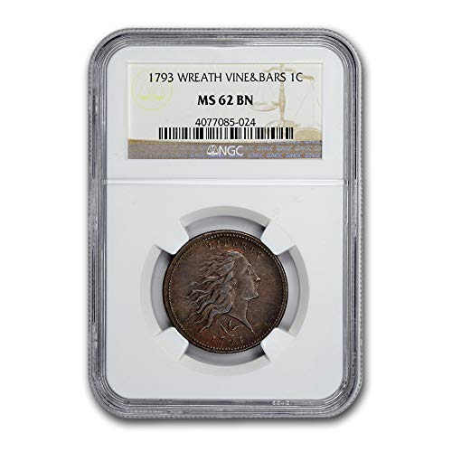 (1793 Flowing Hair Large Cent MS-62 NGC (Brown, Wreath Vine & Bar) Cent MS-62 NGC )
