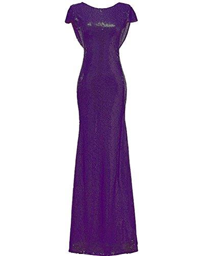 da – sirena con Solovedress per di damigella Abito o Purple anno donna per da lungo sera ballo modello adatto paillettes fine pxqwAF