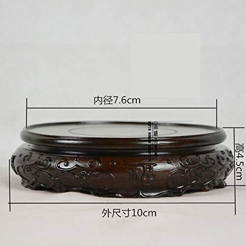 SeedWorld Figurines & Miniatures - Black Rosewood Ebony Circular Base Wood logs Base Stone Jade Ornaments Bonsai teapot Base 1 ()