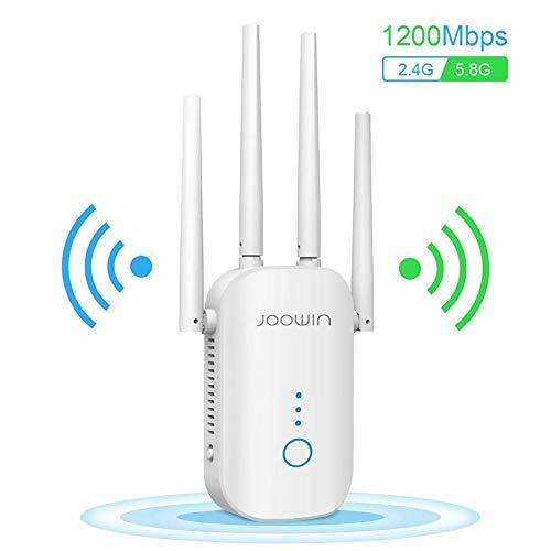 🥇 JOOWIN Repetidor WiFi 1200Mbps Amplificador Señal WiFi Banda Dual 2.4GHz y 5GHz Extensor de Red WiFi Enrutador Inalámbrico Punto Acceso