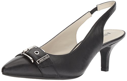 Anne Klein Women's Fenris Sling Pump Black Leather, 8.5 M US