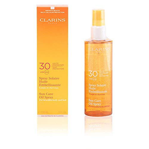 Clarins Sun Care High Protection for Beautiful Body and Hair UVA/UVB 30 Oil Spray for Unisex, 5 Ounce ()
