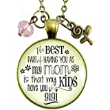 """24"""" Gigi Necklace Best Part of Having You As Mom Kids Have Grandma Women's Jewelry Keepsake Gift From Daughter"""