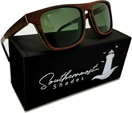 Natural Wood Sunglasses - Wooden Frame -Genuine Polarized Lenses for Men & Women (Heartwood - Olive - Sunglasses Sustainable