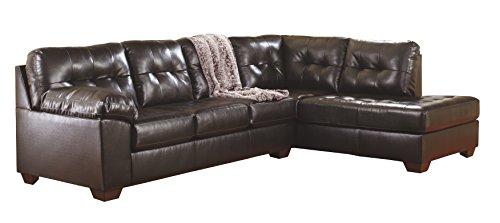 Ashley Furniture Signature Design - Alliston 2-Piece Sectional - Left Arm Facing Sofa & Right Arm Facing Corner Chaise - Chocolate Brown