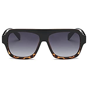 Amomoma Men's Women's Fashion Flat Top Square Sunglasses Retro Shades AM2004 Black and Demi Frame/Grey Lens