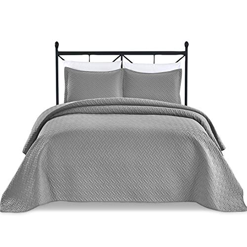 Basic Choice 3-Piece Light Weight Oversize Quilted Bedspread Coverlet Set - Charcoal, Dark Gray, Fits Both King California King