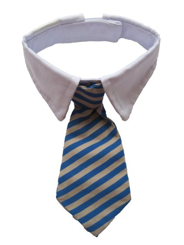 (Vedem Pet Dog Cat Cotton Striped Bow Tie Collar Neck Tie White Collar 9''-12.5'' (Blue, M))