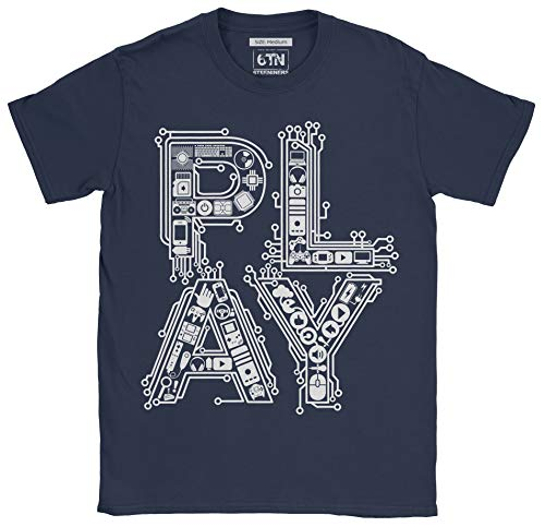 6TN Mens Play Classic Retro Gaming Controllers T Shirt (XX-Large, Navy Blue)