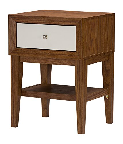 Baxton Studio Bellamy White and Walnut Side Table/Nightstand, Medium
