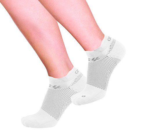 OrthoSleeve FS4 Orthotic Socks (Pair) for Plantar Fasciitis Relief, arch support and foot health featuring patented FS6 technology (Medium, No-Show White)