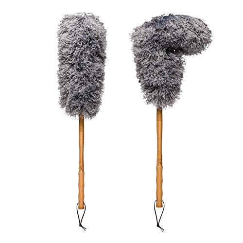 Buff Bamboo Microfiber Duster (2 Pack) | Made With Sustainable Bamboo | Flexible | Leather Tether For Hanging | 28 Inches | Microfiber Wholesale