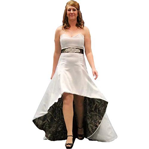 7b0ce02a1798d Chady 2017 Strapless Hi-Lo Camo Wedding Dress A-Line Camo Wedding Gown with  Sash and Sweep Train Camo Bridal Dresses
