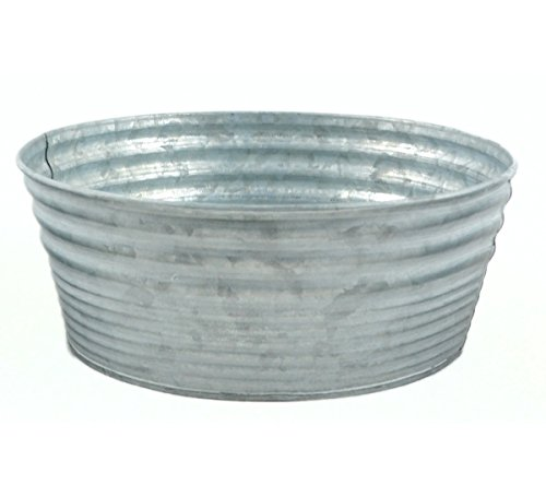 9.5'' Silver Color Galvanized Round Tin Container by The Costume Center