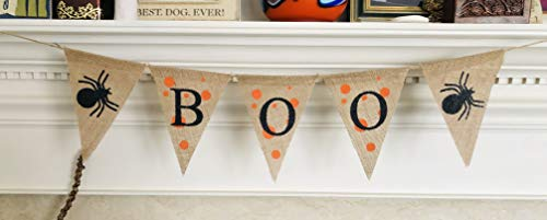 Boo Signs For Halloween (Halloween Party Decoration Boo Banner - Ready to Hang Burlap Bunting - Hanging Spider Burlap Garland Decor - Trick or Treat Halloween Decorations by Jolly Jon)