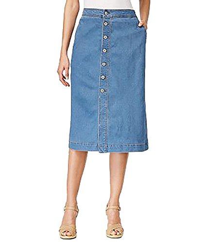 Style & Co. Petite Button-Down Denim Midi Skirt (Light Antique, 12P) (Skirt & Spandex Co Style .)