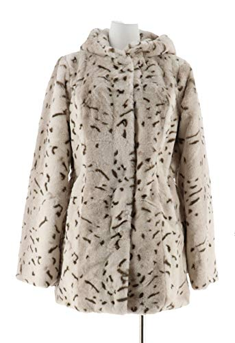 Dennis Basso Zip Front Faux Fur Coat Hood Waist Cream Lynx 2X New A300760 ()