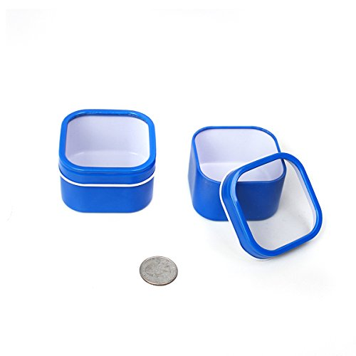 Mimi Pack 4 oz Square Cube Tin Cans With Clear Window Slip Cover Lid for Favors, Spices, Storage, Candies, Mints, Candles and Crafts (24, Blue) (Square Travel Tin)