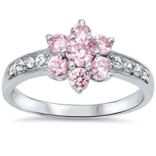 Oxford Diamond Co Pink Cz Flower & Cz .925 Sterling Silver Ring Size 5