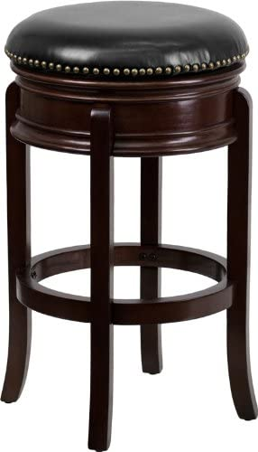 Flash Furniture 29 High Backless Cappuccino Wood Barstool with Carved Apron and Black Leather Swivel Seat