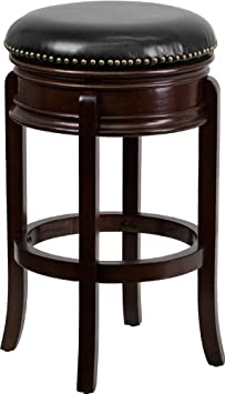 Flash Furniture 29 High Backless Cappuccino Wood Barstool with Black Leather Swivel Seat