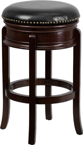 Flash Furniture 29'' High Backless Cappuccino Wood Barstool with Black Leather Swivel Seat Cappuccino Finish Wood Feet
