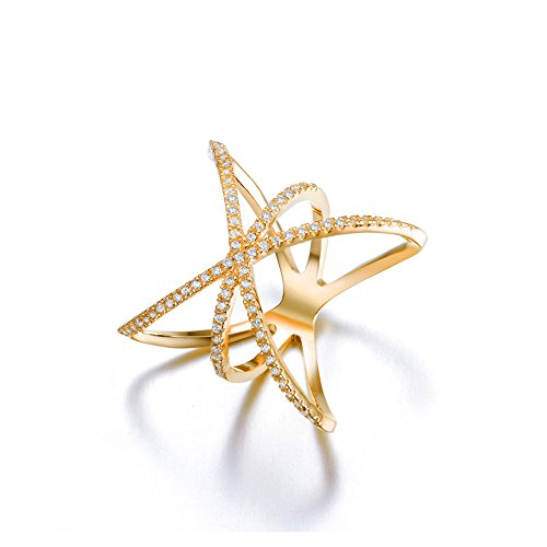 Redbarry Trendy Cross X Shaped Mid Finger Rings with Tiny CZ Paved in 18k Gold Plated, Size 9