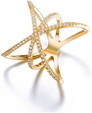 Redbarry Trendy Cross X Shaped Mid Finger Rings with Tiny CZ Paved, ( 3 Colors )