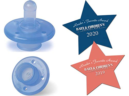 MyPaci 100% Silicone Pacifier/Finger Safe Pacifier Shield/Low Pressure Baby Pacifier Nipple / 0-36M / Blue / 2 Count