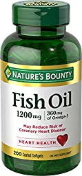 Nature\'s Bounty Fish Oil 1200 mg Odorless, 200 Coated Soft gels (Packaging May Vary)