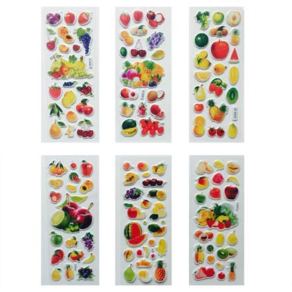 HZHUI Bubble Stickers 3D Cartoon Frutta e Verdura Giocattoli Classici Scrapbook for Kids Children Gift 50pcs