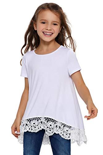 Blibea Girls Clothing Casual Short Sleeve Tunic Tops Blouse Little Girls Ruffled Loose Fashion Tee Shirts Size 10-11 White