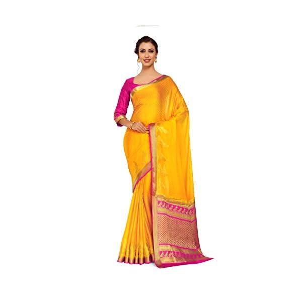 b52484f7bb3f3d Mimosa Art Crape silk saree Kanjivarm Pattu style With Contrast ...