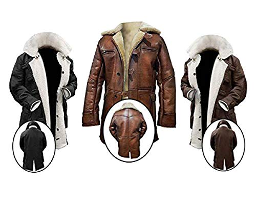 (Tom Hardy Bane Dark Knight Rises Shearling Genuine Leather Coat)