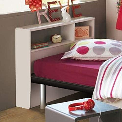 Tête de lit pour sommier de largeur de 90 cm. Vous y rangerez vos livres, réveils, téléphones, cadres photos...